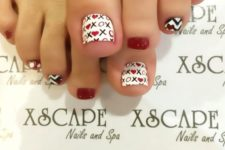 08 black and white nail design with red touches and XO