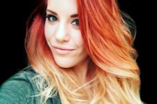 08 fire red ombre hair to blonde