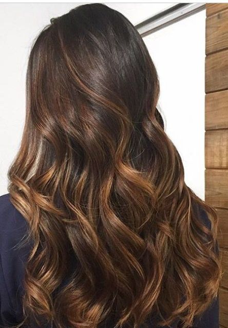 long dark brunette hair with caramel balayage