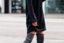 08 turtleneck sweater dress and grey boots are a comfy ensemble
