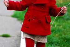 09 a red coat, red shoes and tights, a lace dress