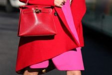 09 bold pink dress, fuchsia heels and a red coat and bag