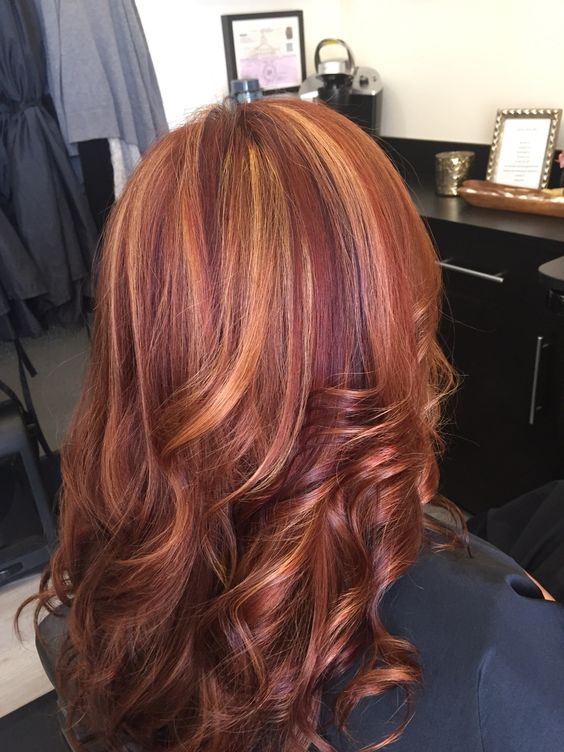 Picture Of Red Hair With Blonde Highlights And Violet Low Lights