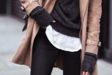10 a short ocher coat, a black sweater and a white tee