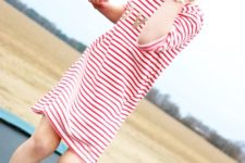 10 a striped red and white dress and red Converse for a cool look