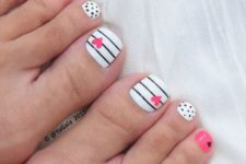 10 black, white and pink toe nails with polka dots, stripes and hearts