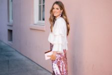 10 pink sequin skirt, a ruffled shirt and nude heels