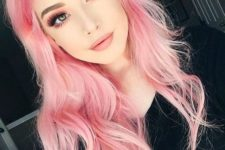 10 soft pink hair with a pink smokey eye and lipsticks – just wow