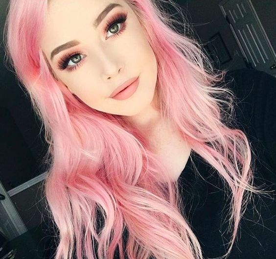soft pink hair with a pink smokey eye and lipsticks   just wow