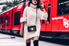 11 black over the knee flat boots, a turtleneck sweater dress and cross body