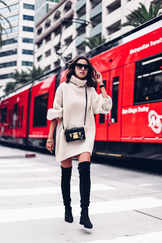 black over the knee flat boots, a turtleneck sweater dress and cross body