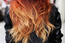 11 dark red to blond ombre balayage