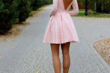11 pink mini dress with a cutout V-back is great for any kind of date