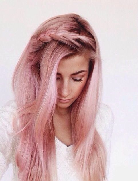 e50614c8dc Picture Of pink straight hair with darker roots and an ombre effect to  blonde