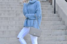 11 ripped white denim, an oversized blue sweater and blush heels