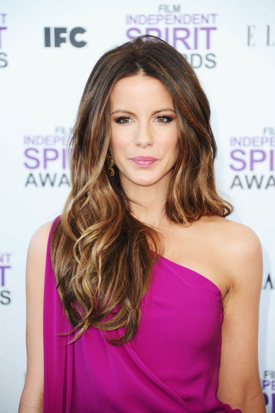 warm brunette hair with caramel and light balayge by Kate Beckinsale