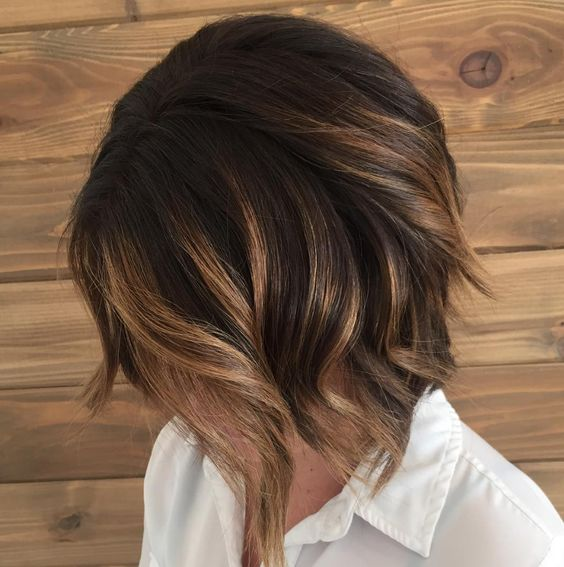 caramel brunette balayage bob with dark smudge root