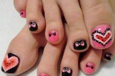 12 cute nail art with bows and hearts
