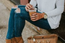 12 one shoulder knit sweater, ripped jeans and ocher booties