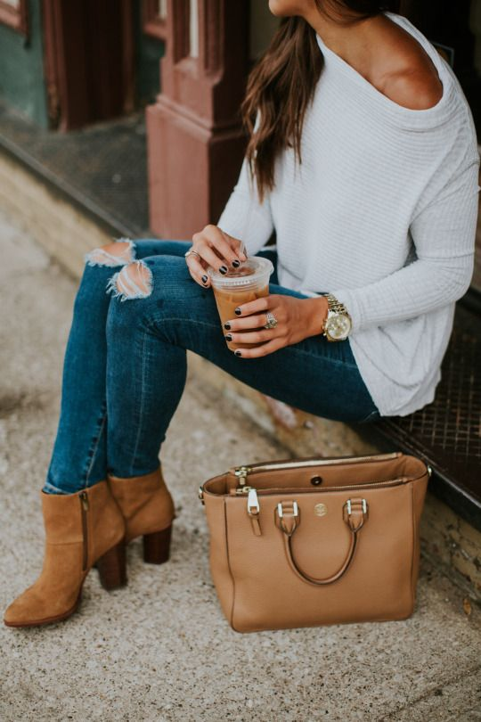 one shoulder knit sweater, ripped jeans and ocher booties