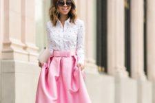 12 pink maxi ball gown skirt, a polka dot shirt and a clutch