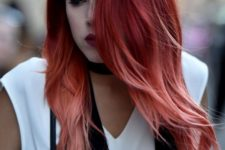12 red balayage with pink tips for a hot look