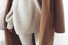 12 ripped white denim, an oversized geometric sweater, nude shoes and a brown coat