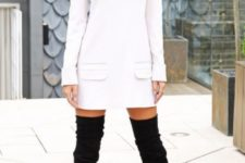 13 black over the knees and a white turtleneck sweater dress