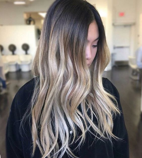 color melt ombre with bright blonde on naturally dark hair