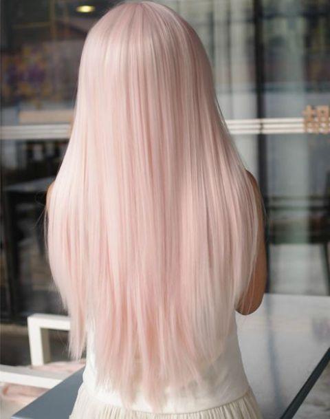 cutest blush straight hair