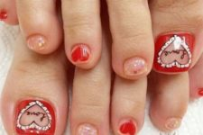 13 glitter nails, red accents and hearts