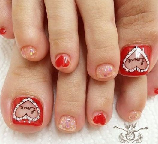 20 Lovely Valentines Day Toe Nails Designs Styleoholic