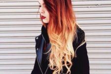 13 hot red to blonde ombre balayage hair