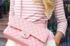 13 pink and white stripes on stripes look with a cross-body bag
