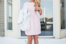 14 candy pink mini dress and dhoes, a white fluffy coat
