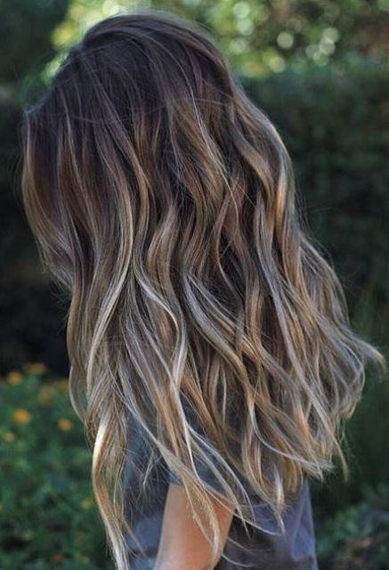 light brunette hair with blonde balayage for a soft look