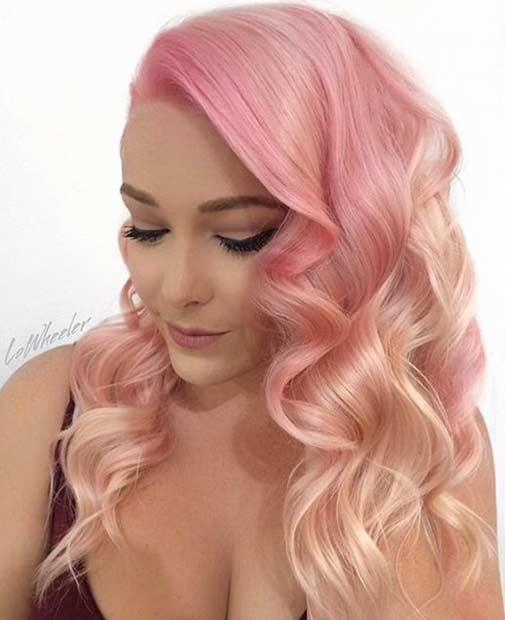 soft pink hair with blonde balayage