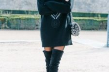 14 turtle neck oversize sweater dress with over the knee boots