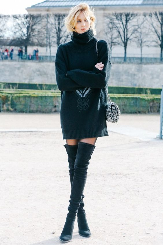 turtle neck oversize sweater dress with over the knee boots