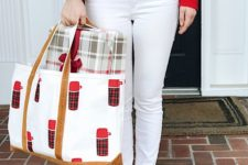 14 white denim, a red sweater and flats