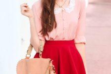 15 a fuchsia skirt, a blush shirt with a lace collar and a blush handbag