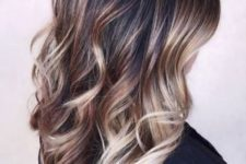 15 black hair with caramel and blonde balayage