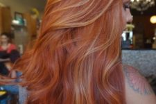15 copper hair with blonde highlights to give it a dimension