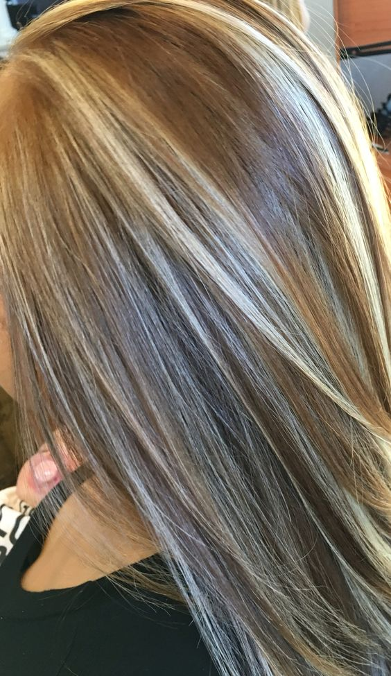 dark blonde straight hair with highlights