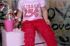 15 hot red ruffle pants, a pink printed tee and a headpiece