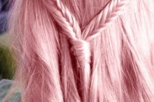 15 ideal straight long pink hair with a boho hairstyle