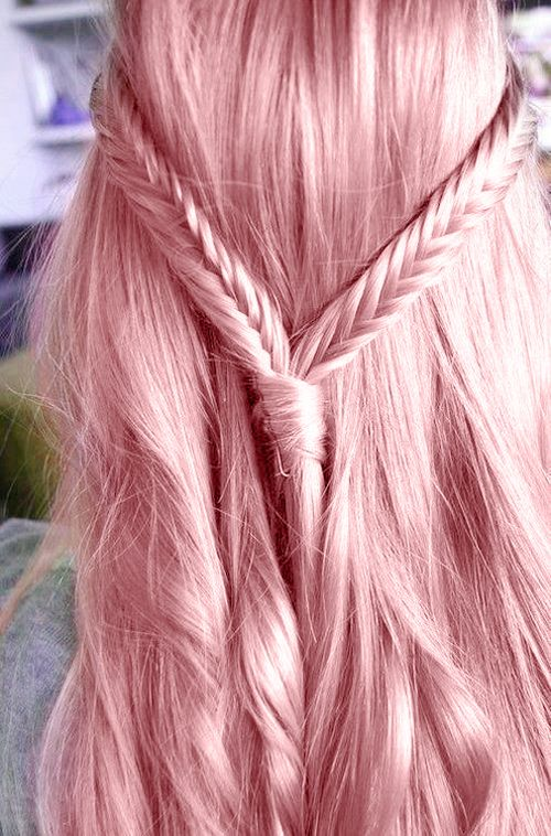 ideal straight long pink hair with a boho hairstyle