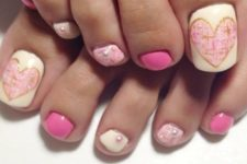 15 pink and white nail art with beads and hearts