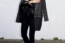 16 black jeans, a black tee, a leather jacket, a coat and heels