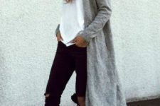 16 black ripped jeans, a white teem sneakers and a long grey cardigan
